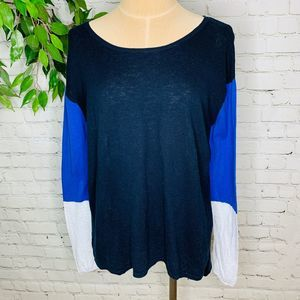 Vince Colorblock Navy Blue Scoop Neck Slub Sweater